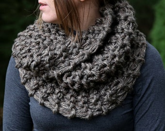 Hand Knit Outlander Inspired Claire's Mobius Cowl in Brown Marble, Chunky Knit, Infinity Scarf, Neck Warmer Clearance! SAME DAY SHIPPING