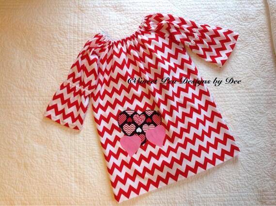 Red chevron Valentine dress, toddler dress, girls dress, heart dress,boho sleeve, peasant style dress,red and white dress,pink hearts,