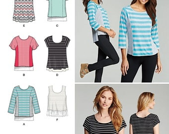Simplicity Pattern 1199 Knit Tops for Miss and Plus Sizes