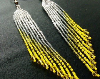 Beaded Ombre Earrings - Yellow