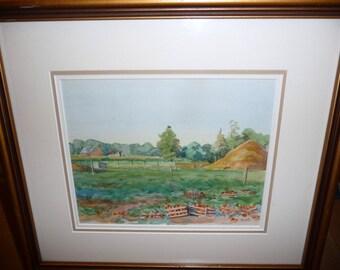 "Vintage Original Watercolor by M.J.K.D. ""Apple Orchard"""