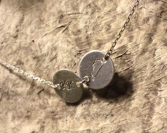Hand Stamped Silver Kentucky Disc Necklace.  Personalized Kentucky Necklace