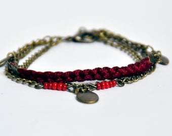 Bracelet shuttle red wine... (brass bronze and cotton braided)