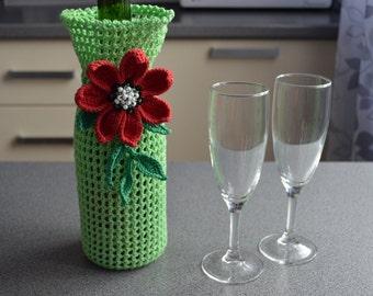 crochet bottle cozy, crochet wine bottle tote, bottle cozy for holiday drink, crochet wine holder, romantic wine cozy, flower bottle cozy