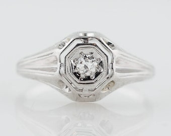 Art Deco Engagement Ring .07ct Old European Cut Diamond in 18k White Gold