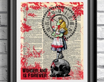 Art print on dictionary book page Zombie Alice in Wonderland. Gothic dark artwork on antique book page. Wall art the walking dead zombies.