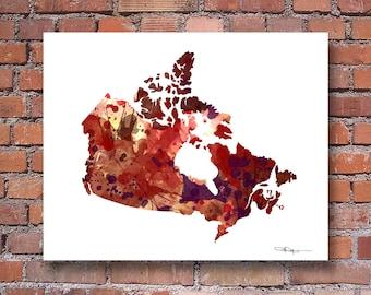 Canada Map - Abstract Watercolor Art Print - Wall Decor