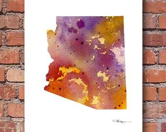 Arizona Map Art Print - Abstract Watercolor Painting - Wall Decor