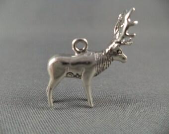 STERLING SILVER 3D Elk Charm for Charm Bracelet