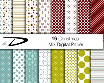 Christmas digital paper - 16 Christmas wallpaper - bordeaux digital paper - green digital paper - christmas paper