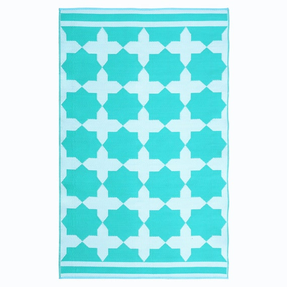 Items similar to Turquoise Recycled Outdoor Rug on Etsy