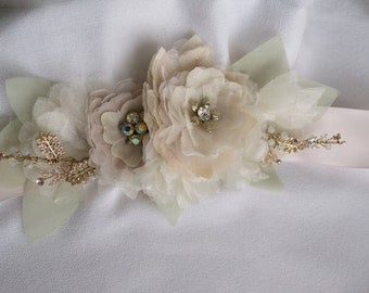 Fabric Flower Sash Embellished with Vintage Jewelry