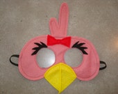 Angry Birds Inspired Felt PINK BIRD Mask - Halloween, Pretend Play, Birthday Parties - Toddler/Child Sized To Adult - All Stitched - No Glue