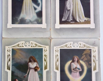 Pack of 4 Antique Postcards 'Hope and Charity' 1911 Postmark to use for Card Making, Scrapbooking, Art Journals and Paper Crafts, Christian