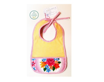 """Large bib """"Banana"""" waxed and cotton canvas reversible with pouch"""