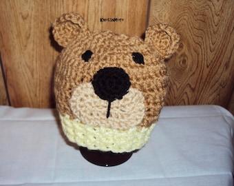 Bear Hat - Crochet Boy Hat - Crochet Bear Hat - Crochet Animal Hat - Baby Bear Hat