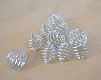 Ten Wire Spiral Pendants ~ Crystal Cage ~ 18 mm ~ Platinum Finish