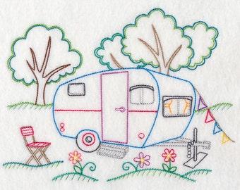 Dish Towel - Vintage RV, Shasta, Retro RV, Camping, Redwork RV