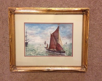 Signed Frank Reynolds watercolor painting (ship in Spain)