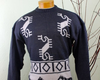 Vintage Sweater McGregor Abstract Horse Sweater RUNNING HORSES SWEATER Mens