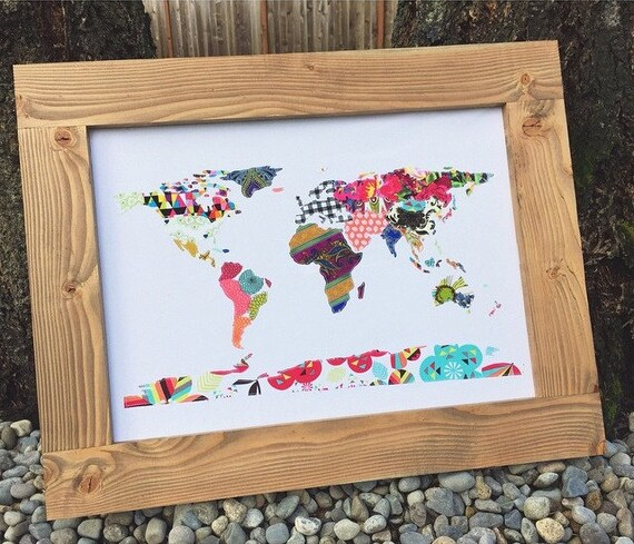 Custom Handmade Fabric Scrap Map of The World