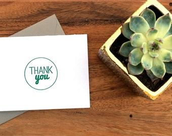 Letterpress Thank You Card - )Set of 6)