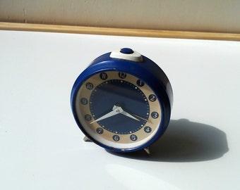 Vintage deep blue mechanical alarm clock Made In 1970