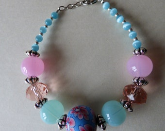 Bracelet Lola Blue and Pink - Made in FRANCE