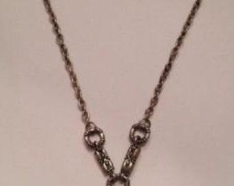 Vintage Pendant Necklace Silver Black Enamel Costume Jewelry