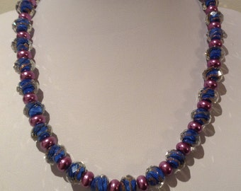 Necklace.46cm Features High Quality Lampwork rondelles. Pearalised Glass rondelle spacers
