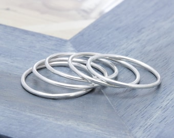 925 stering silver simple 5 pcs band ring, stackable rings, midi rings, holiday gift, bridemaids bands, wedding gift,
