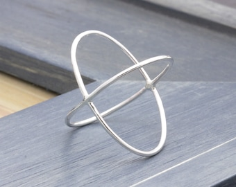 1.0 mm 925 stering silver simple criss cross x ring, birthdays gift, wedding gift
