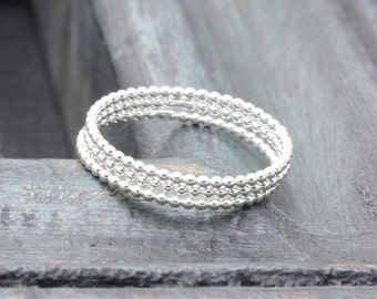 925 stering silver simple 3 pcs ball wire band ring, stackable rings, holiday gift, bridemaids rings, wedding gift,