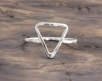 925 stering silver big open triangle hammered band ring