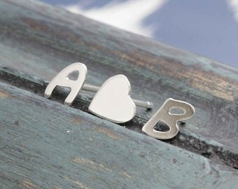 personalized 925 stering silver shiny 2 initial with heart stud earrings, holiday gift, wedding gift, friendship earrings  (E_00070)