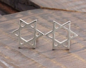 925 stering silver shiny star of david stud earrings (R_00024)