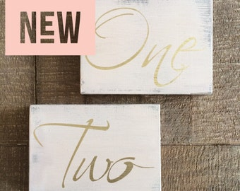 Light blush table numbers, wood table numbers, wedding table numbers, gold table numbers