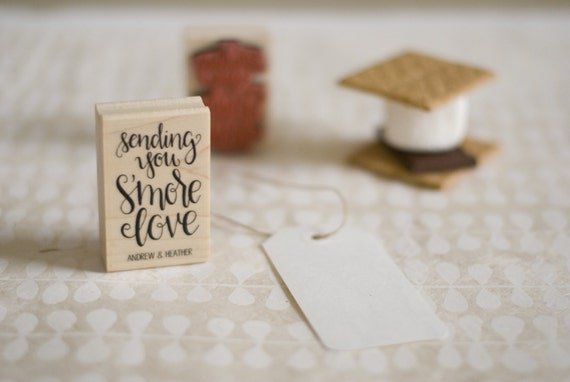 Sending You S'more Love Rubber Stamp - Customizable Handlettered Calligraphy Wedding Favor Stamp
