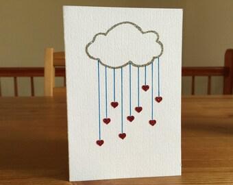 Raining Hearts Card