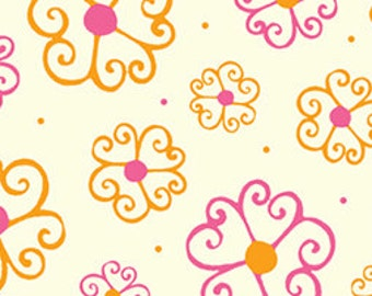 Quilting Treasures Lily Scrolly Flowers on Light Cream, Pink, and Orange Cotton 1/2 Yard