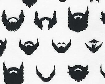 Cotton Woven Beards on White 1 yard
