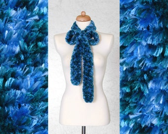 Blue - Teal Faux Fur Boa - Eco Friendly Bohemian Knitted Scarf Made Of Recycled Yarn