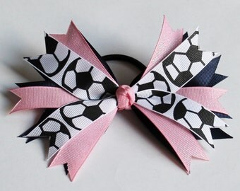 Soccer Hair Bow with Team Colors 5 inches