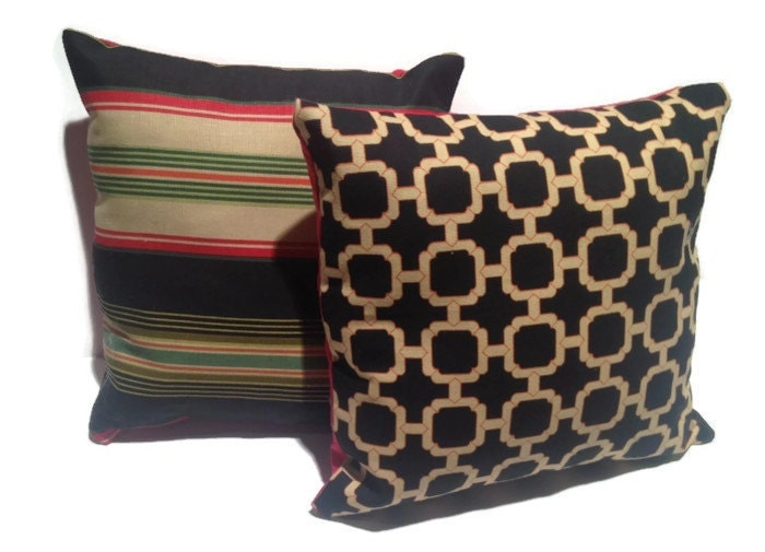 Pillows THROW PILLOW Black And Gold And Red Octagon Pattern