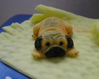 Fondant Pug Cake Topper, Pug Cake Decorations, Handmade Edible Pug Cake Topper, Pug Cupcake Toppers, Dog Animal Cake Topper