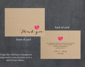 Custom Printable Thankyou Card - Calligraphy Heart Design