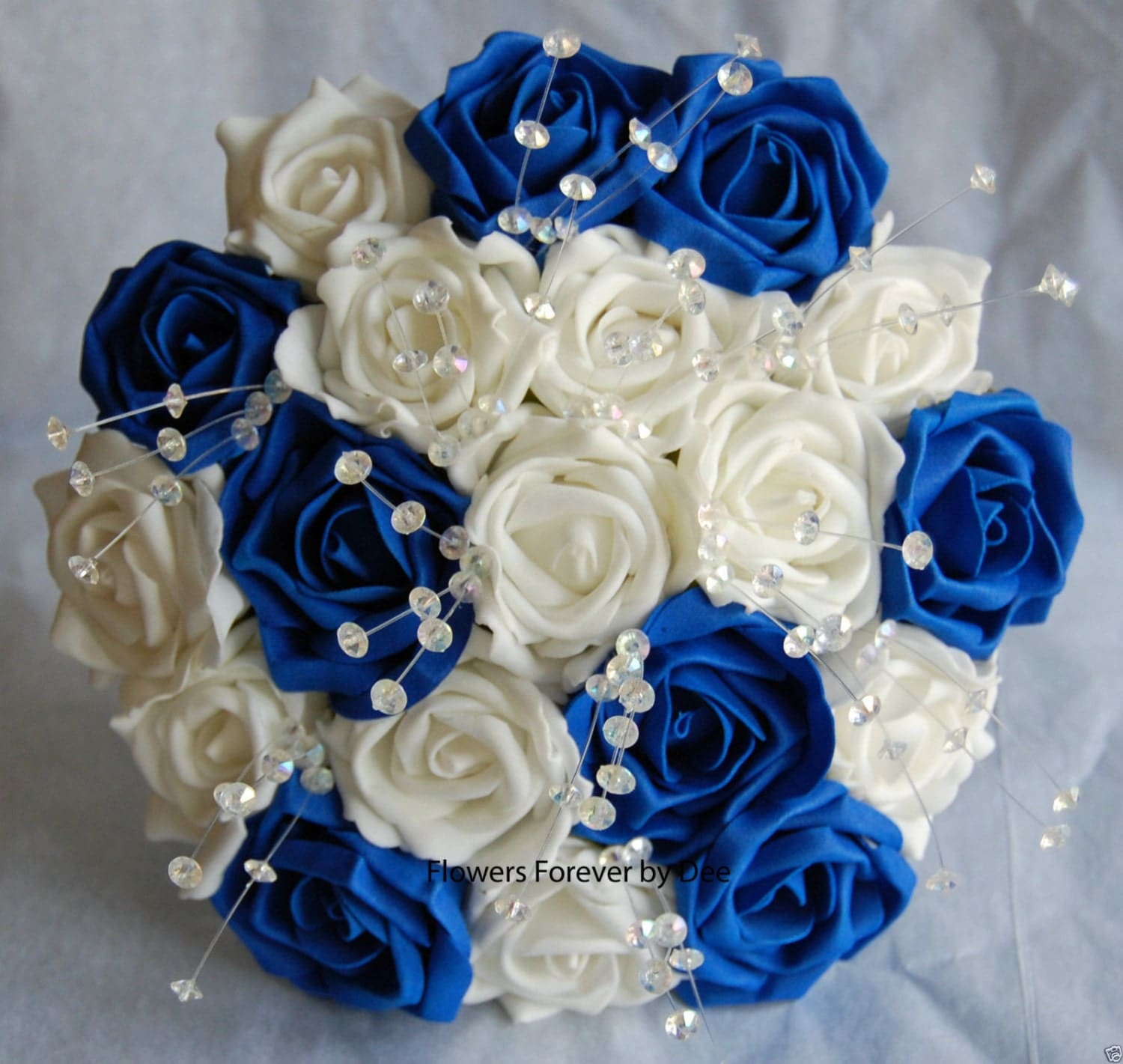 Royal Blue And Ivory Wedding Bouquets : Bride or bridesmaid ivory royal blue by flowersforeverbydee
