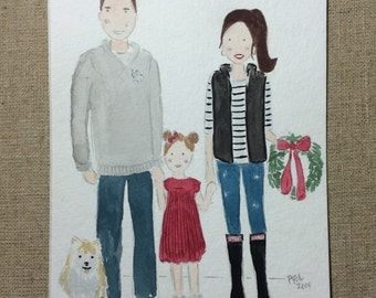 Family of Three - Custom Watercolor Portrait