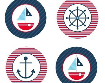 Nautical Sailboat Edible Cupcake Topper Decorations - Set of 12 Toppers