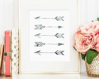 Silver foil arrows, printable wall art decor, minimalist art, faux silver foil, art for office, bedroom decor, digital download JPG